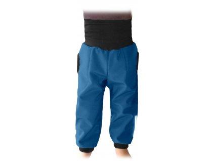 Dětské softshellové kalhoty s náplety a regulací pasu, petrolejové, velikost