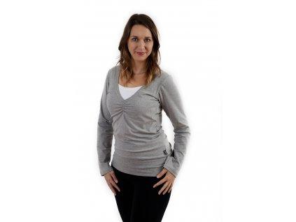 Kojící tričko KARLA, dlouhý rukáv, šedý melír