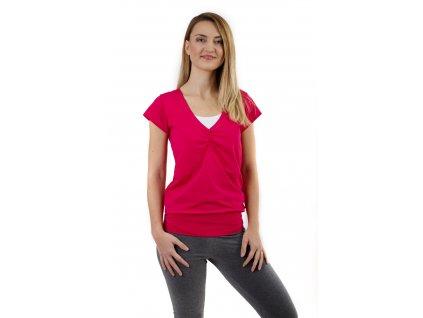 Kojící tričko KARLA, krátký rukáv, sytě růžová