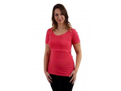 Kojicí tričko Kateřina, krátký rukáv, lososově růžové