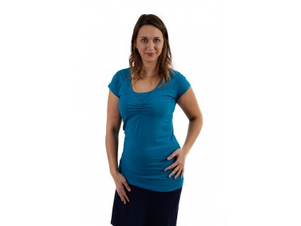 KLAUDIE- kojící tričko, vsadka v barvě, KR, petrolejová ( tm. tyrkys )