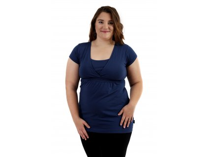 Těhotenská a kojicí tunika Anička, krátký rukáv, tmavě modrá (jeans)