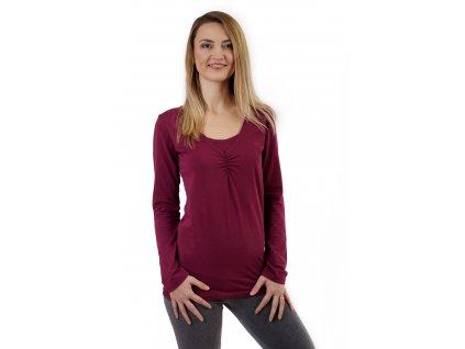 KLAUDIE- kojící tričko, vsadka v barvě, dlouhý rukáv, cyklámen