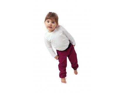 Dětské softshellové kalhoty s náplety a regulací pasu, fuchsiové (tmavě růžové), velikost