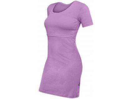 Kojicí šaty ELENA, krátký rukáv, levandulově fialové