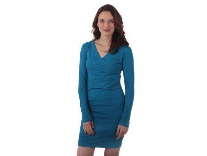 AMÁLIE- dámské šaty, dlouhý rukáv, petrolejové