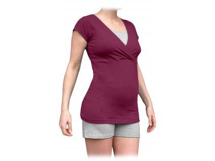 Těhotenské s kojicí pyžamo, krátké, cyklámen+šedý melír