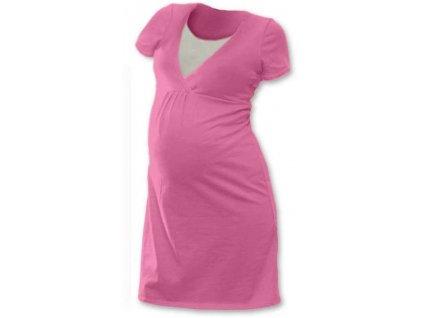 Kojicí noční košile Lucie, krátký rukáv, růžová,