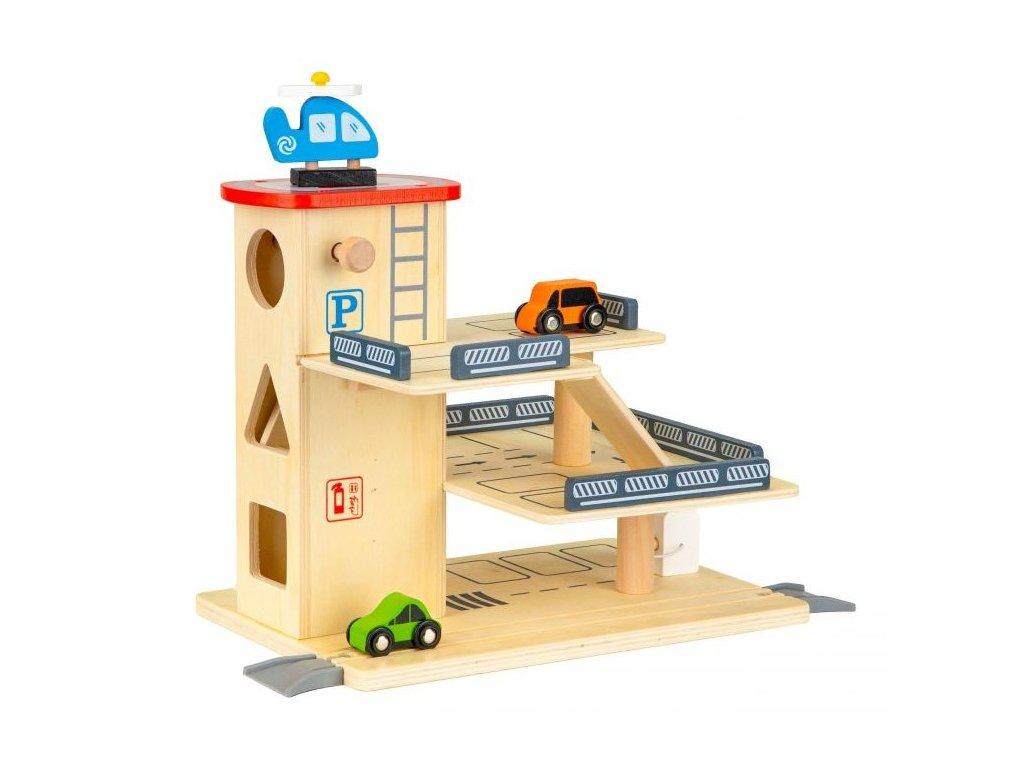 ecotoys drevena garaz s vytahem a auticky