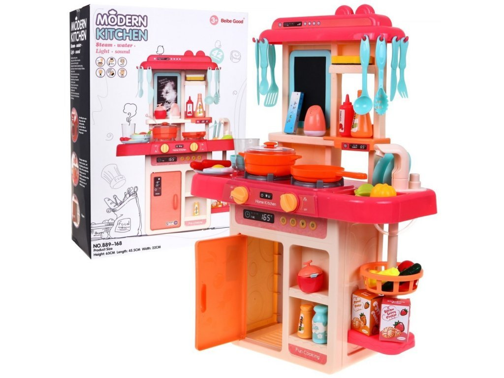 3173 majlo toys detska kuchynka so zvukmi a parou little chef ruzova