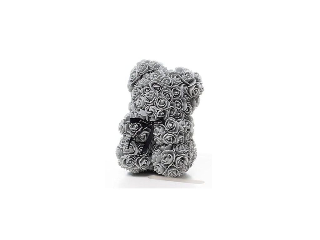 2054 medvedik z ruzi sedy rose bear 25 cm