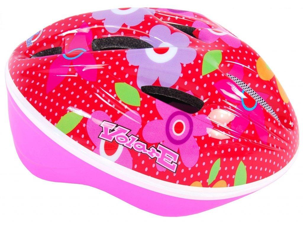 Volare Pink Flower gyermek kerékpáros sisak