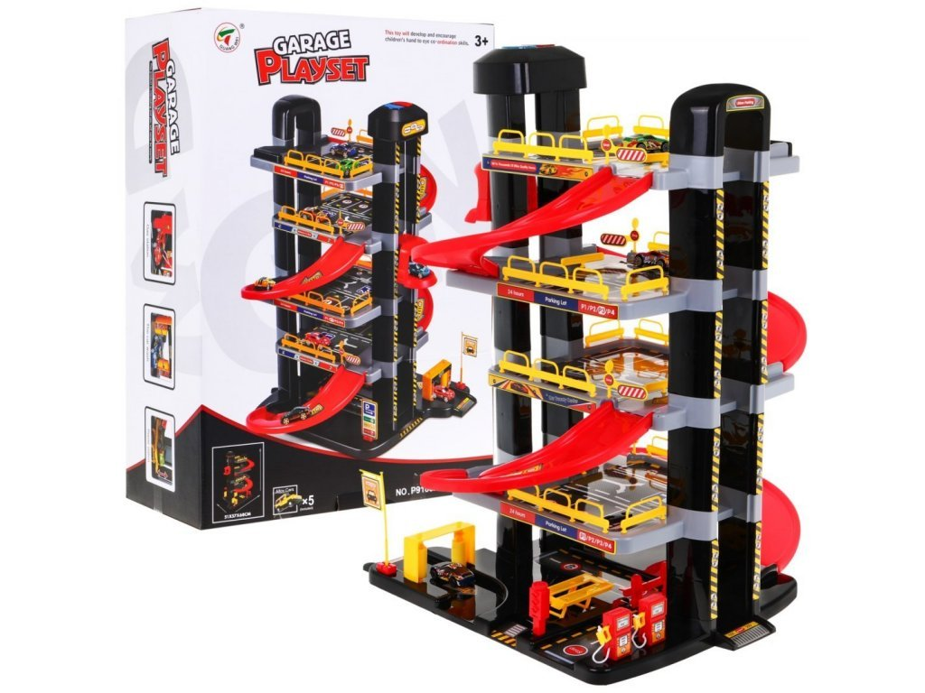 Majlo Toys XXL parkoló garázs elemes lifttel + 5 Big Garage játékautó