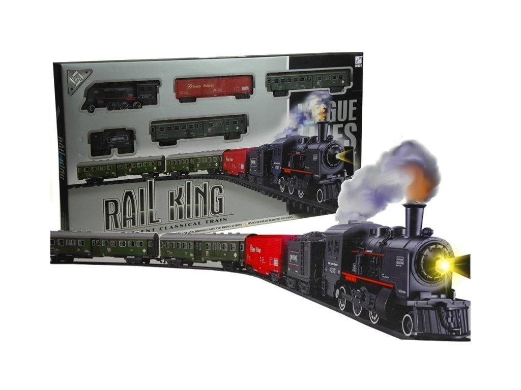 Maylo Toys Rail King elemes vasúti pálya füst- és fényhatásokkal
