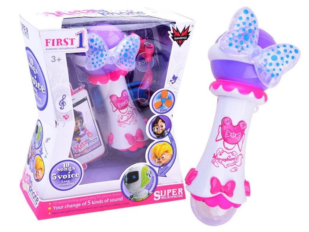 Majlo Toys gyermek karaoke mikrofon hangfelvevővel és fényekkel First Voice fehér