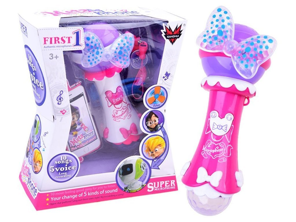 Majlo Toys gyermek karaoke mikrofon hangfelvevővel és fényekkel First Voice rózsaszín
