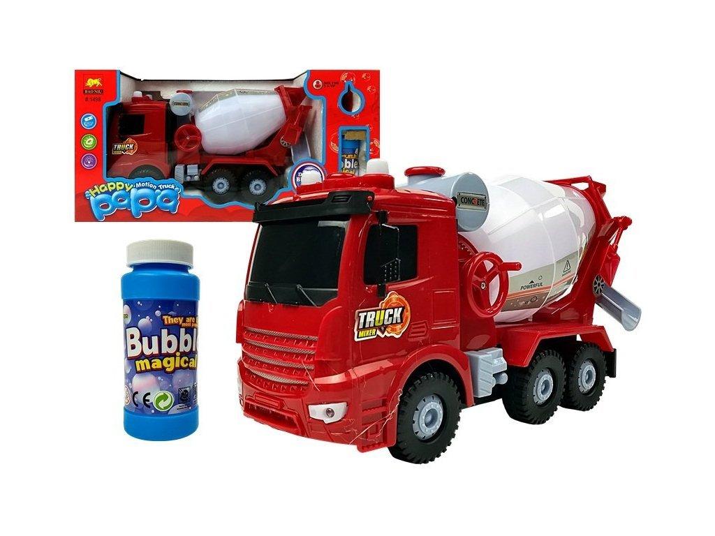 Majlo Toys Happy Papa betonkeverő autó buborékfújóval és dallamokkal piros