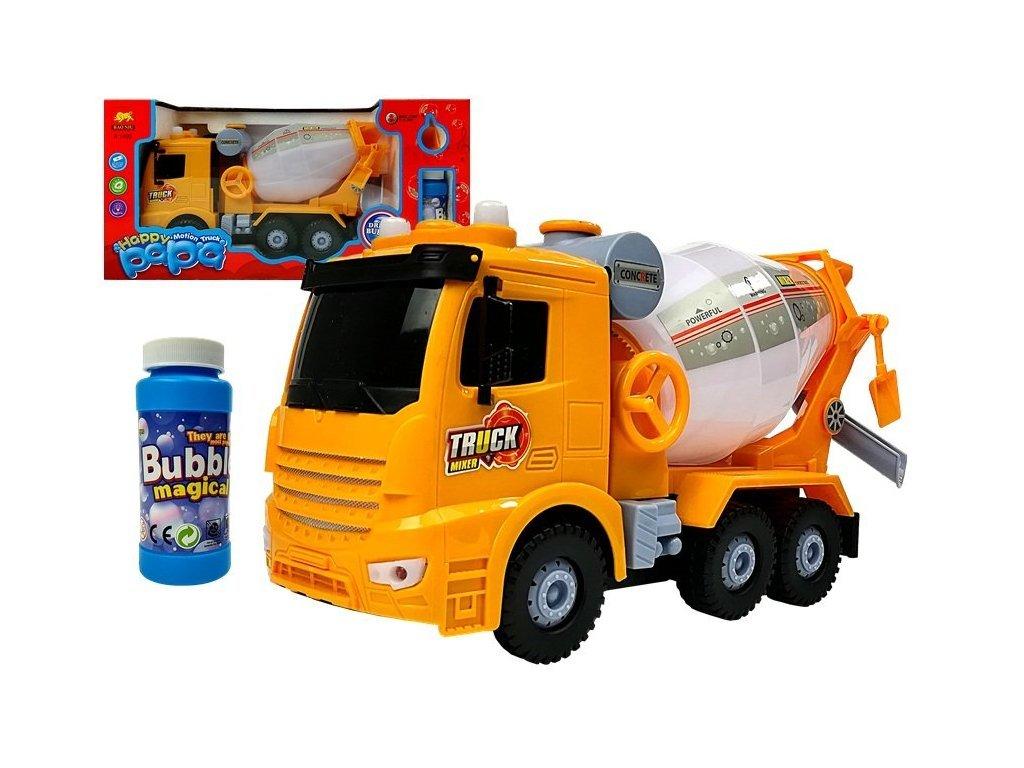 Majlo Toys Happy Papa betonkeverő autó buborékfújóval és dallamokkal sárga