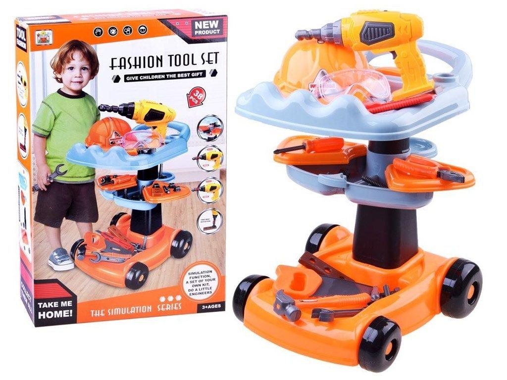 Majlo Toys Tool Carry gyermekműhely kerekes kocsin, elemes fúróval