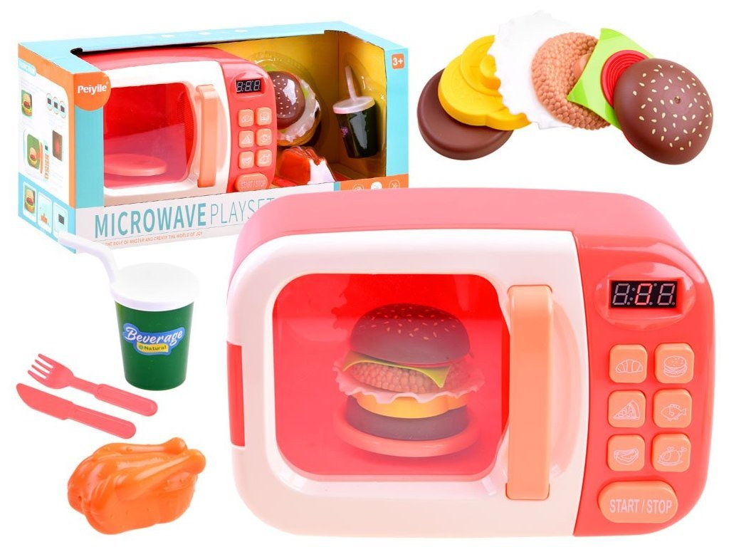 Majlo Toys Kids Microwave gyermek elemes mikrohullámú sütő rózsaszín