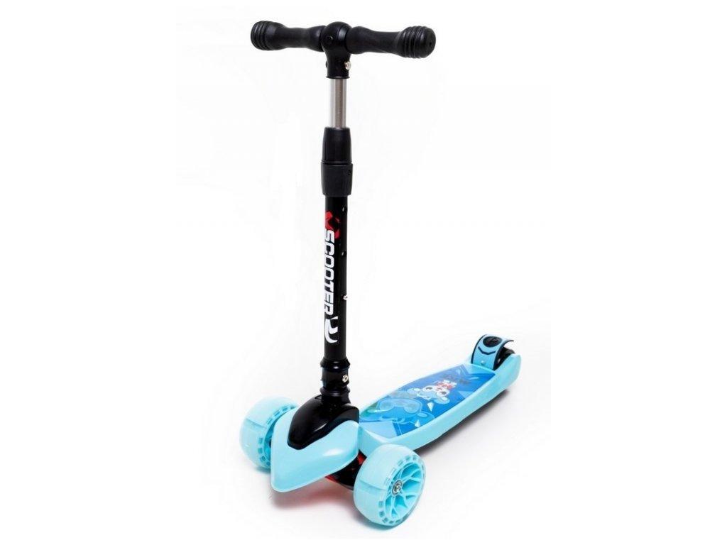 Majlo Toys Egérke kék gyermek roller világító kerekekkel