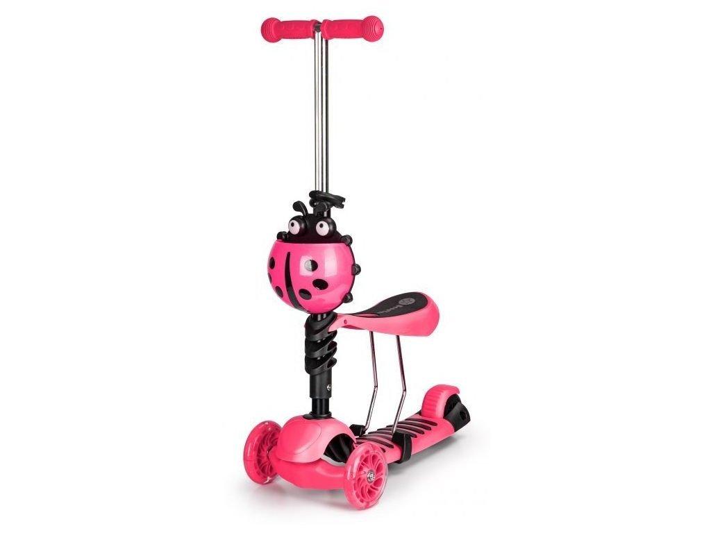 Ecotoys rózsaszín gyermek roller üléssel és világító kerekekkel Katicabogár