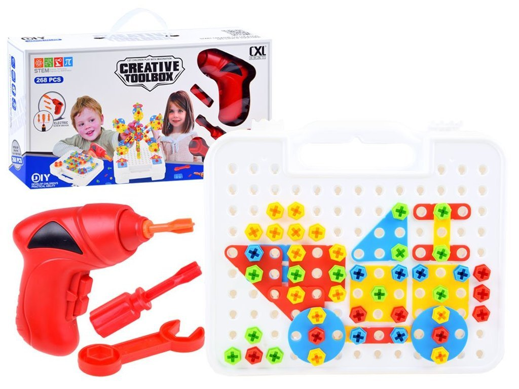 Majlo Toys Magic Panel színes 3D építőkészlet elemes fúróval 268 db