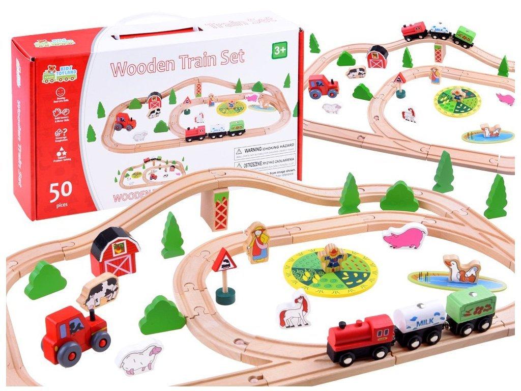 Majlo Toys Wooden Train fa vonatpálya 50 darabos