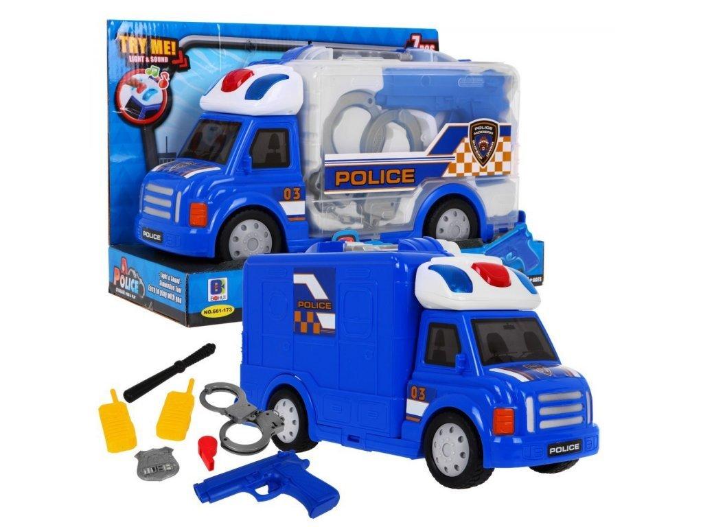Majlo Toys Police Storage rendőrautó világítással és hanggal kiegészítőkkel egy kofferban