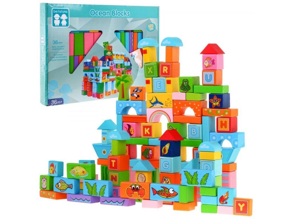Maylo Toys Ocean Blocks színes fa kockakészlet 100 db