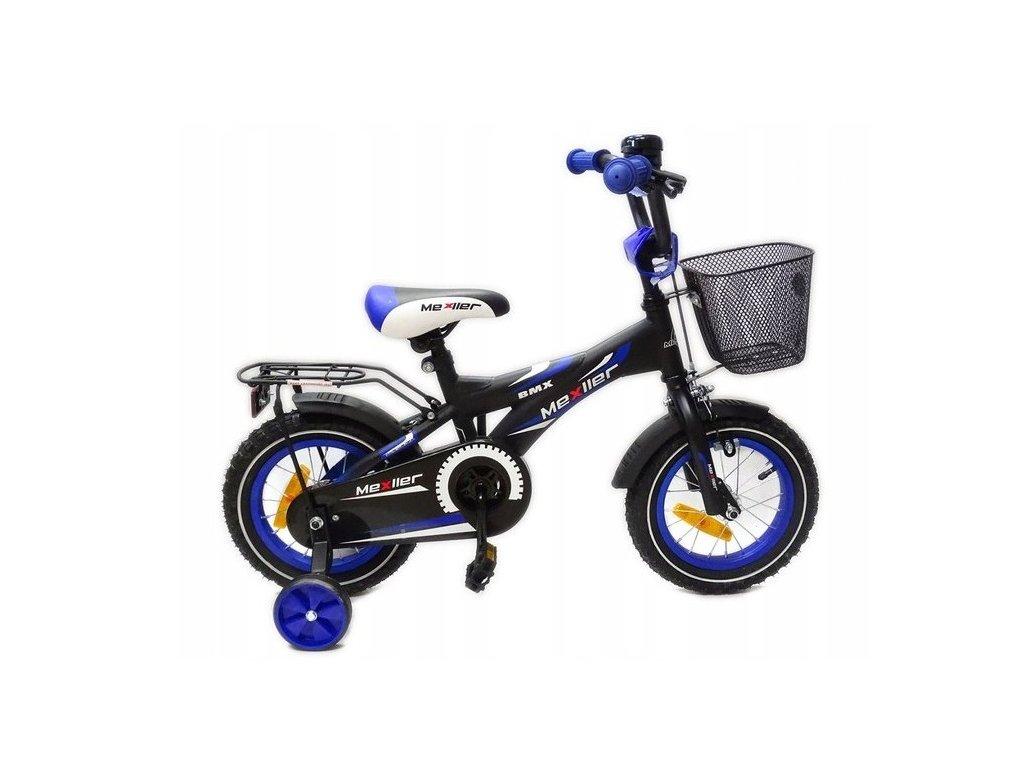 """Mexller BMX 12"""" gyermekkerékpár vezetőrúddal fekete kék"""