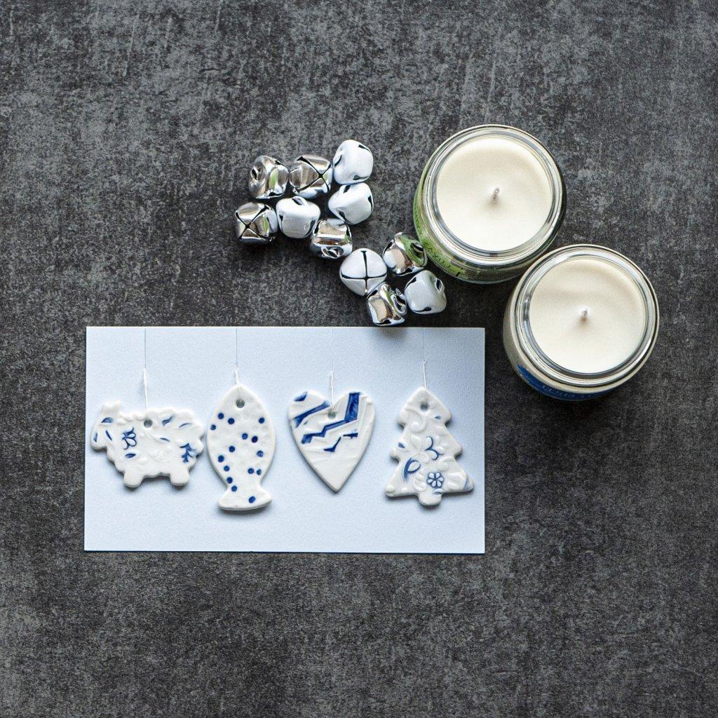 Porcelánové vianočné ozdoby 4ks - modré