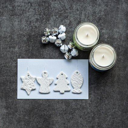 Porcelánové vianočné ozdoby 4ks - biele
