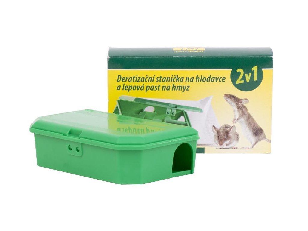 Deratizačná stanička 2v1, pre otravu na hlodavce, lepová pasť na hmyz
