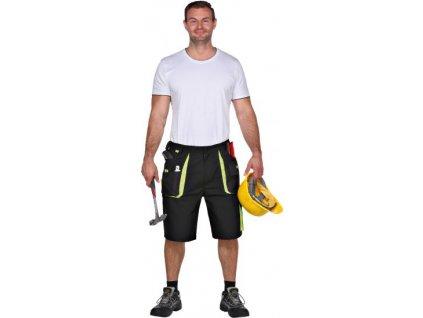 Power, krátke nohavice,  270 g / m², plátno, čierna/zelená 64