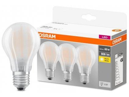 Ziarovka OSRAM® LED FR 060 non-dim, 7W/827 E27 2700K MULTIPACK, Star CLASSIC, MATNÁ, bal. 3 ks