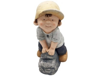 Dekoracia Gecco 8425, Chlapec na kameni, magnesia, 31x23x42 cm