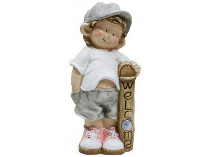 Dekoracia Gecco 9095, Chlapec s tabuľou, magnesia, 24x18x49 cm
