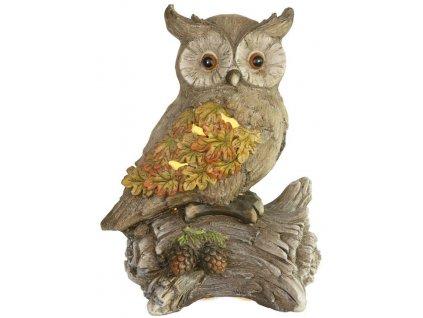 Dekorácia MagicHome Nature, Sova sedí na kmeni, 9 LED, 3xAAA, keramika, 31x21x42 cm
