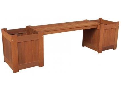 Lavica LEQ GURRE, 174x45x40 cm, drevená, 2 kvetináče