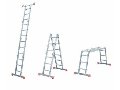 Hliníkový kĺbový rebrík 4x4