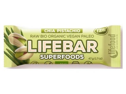 Lifebar Superfoods s chia a pistáciemi BIO RAW