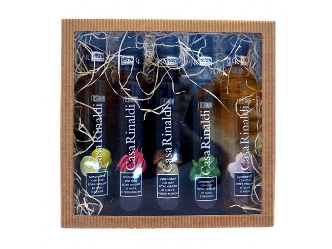 Dárková kazeta 5 ochucených olivových olejů