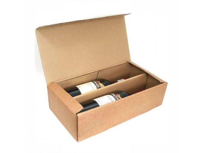 Dárková krabička v přírodní hnědé na 2 láhve vína