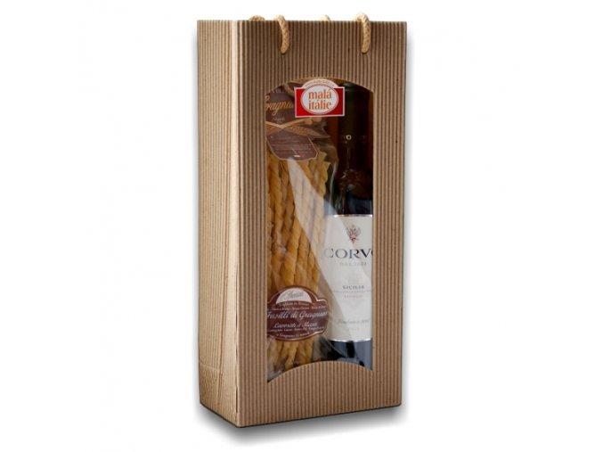 Dárkový balíček těstoviny a víno