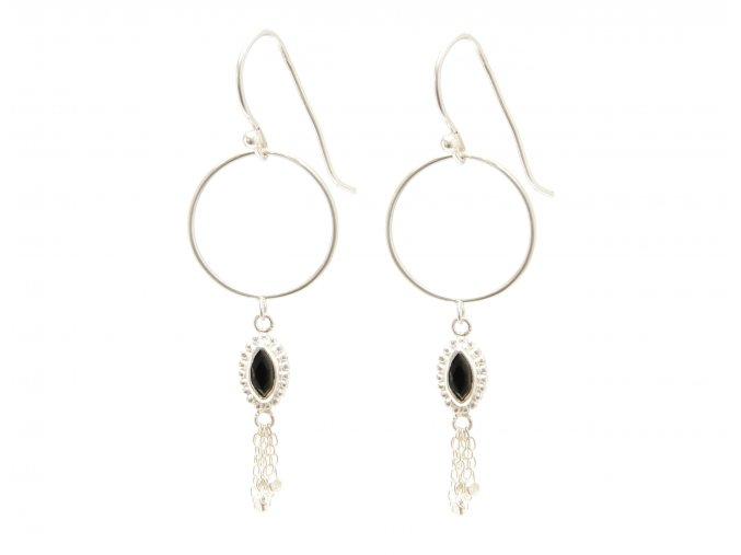 "SARASWATI Earrings Onyx ""S""  onyx"