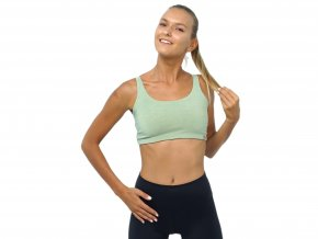 "SARASWATI BAMBOO CROSS YOGA BRA ""light green""  organicky obarveno"