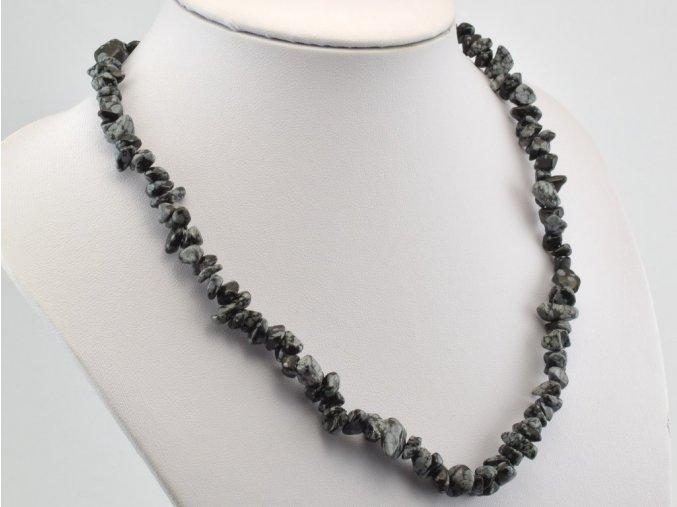 Náhrdelník sekaný, obsidián
