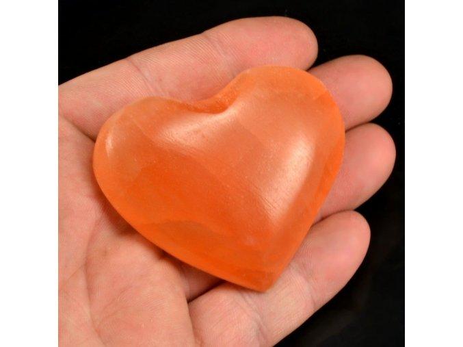 Selenitové srdce oranžové 1ks (6-7cm)
