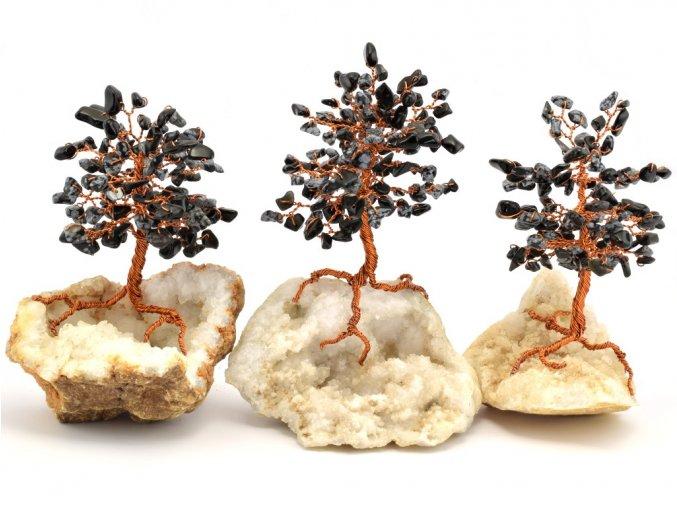 Stromeček štěstí, obsidián na křišťálu